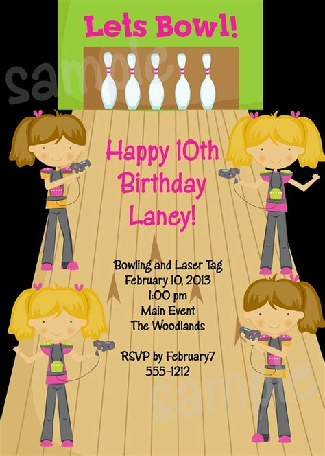 laser tag bowling birthday party invitation  girls