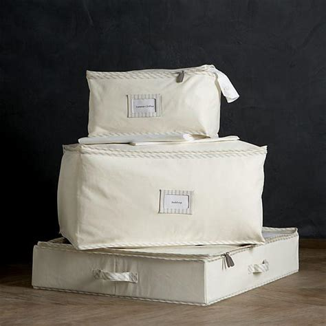 twill storage bags with ticking in closet crate and barrel