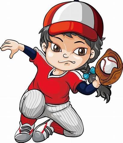 Clipart Baseball Cartoon Players Clip Softball Basketball
