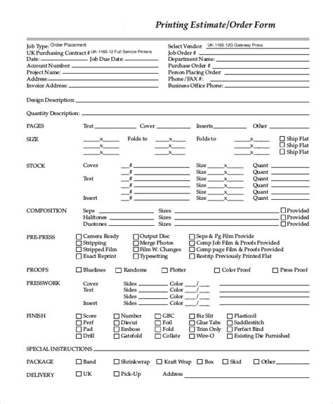 sample estimate form  examples   word