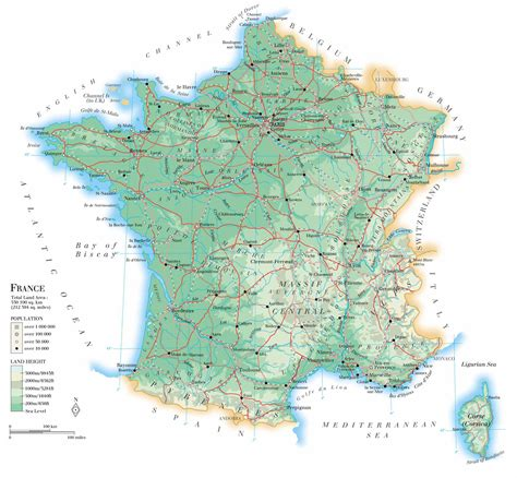 large detailed physical map  france  roads
