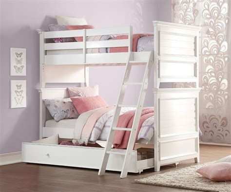 lacey white twin twin trundle bunk bed
