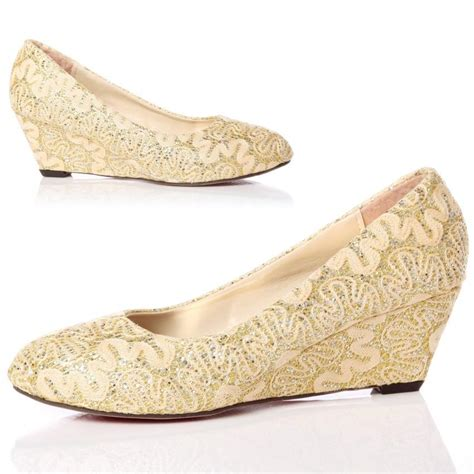 wedding wedges shoes closed toe wedge pumps gold lace wedding shoes with almond 1216