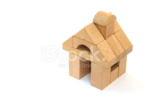 house made of blocks block house made of childrens building blocks isolated on whit stock photos freeimages com