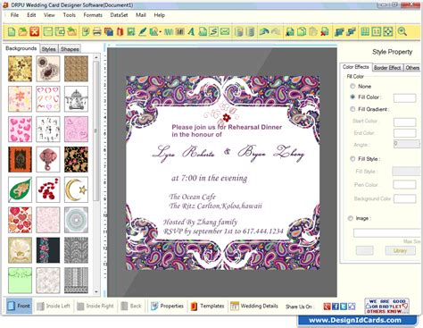 Wedding Card Maker Software designs printable and scanable