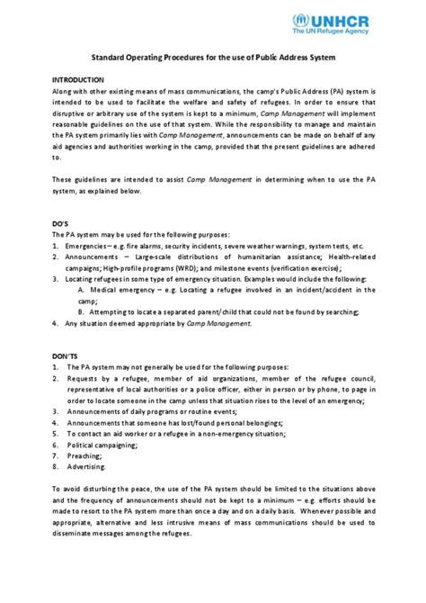 Document - Standard Operating Procedures on the use of PA