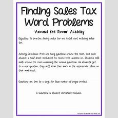 Finding Sales Tax Word Problem Around The Room Activity Tpt