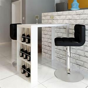 Table Bar Rangement : acheter table de bar blanche verniss e avec 3 tag res de rangement pas cher ~ Teatrodelosmanantiales.com Idées de Décoration