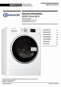 Bauknecht Watk Prime 9614 Dryer Service Manual And