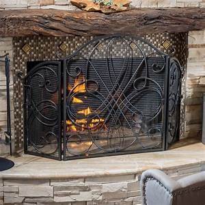 Best, Selling, Home, Decor, Oxford, 3, Panel, Iron, Fireplace, Screen