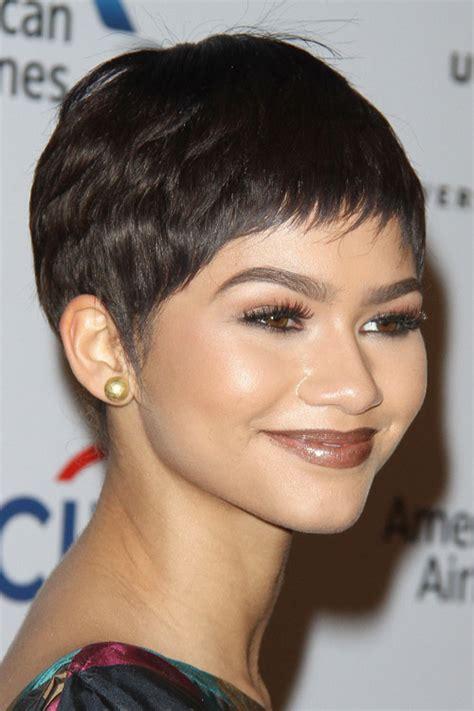 zendaya straight dark brown pixie cut wig hairstyle
