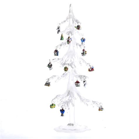 icicle christmas tree with ornaments table decor