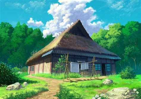 wallpaper anime house forest clouds scenic grass