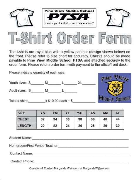 tshirt order forms word excel fomats