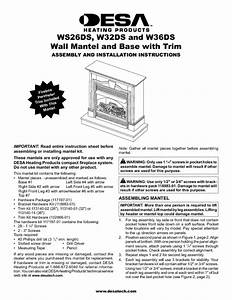 Wall Mantel And Base With Trim W32ds Manuals
