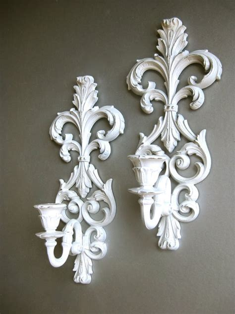 reserved for koula christi vintage white sconces candle - White Candle Sconces