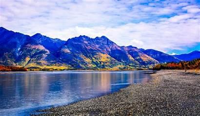 Alaska Mountain Landscape Nature Spring River Background