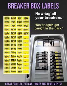 Circuit Breaker Tags Labels Fits All Breaker Boxes Square D Ge Siemens Breakers