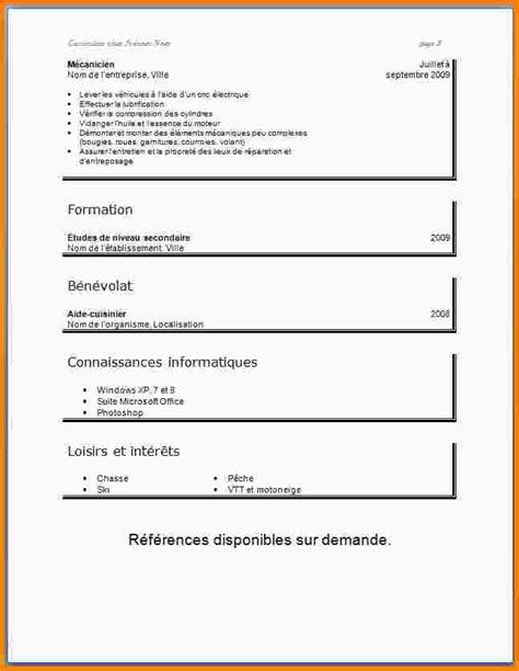 De Cv Pour étudiant by Mod 232 Le De Cv Pour 233 Tudiant Exemple Cv Facile Alienbar