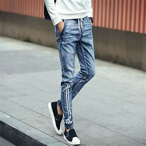 New 2016 Casual Slim Men Jeans Pants Drawstring Striped Boys Fashion Skinny Jeans Men Korean ...