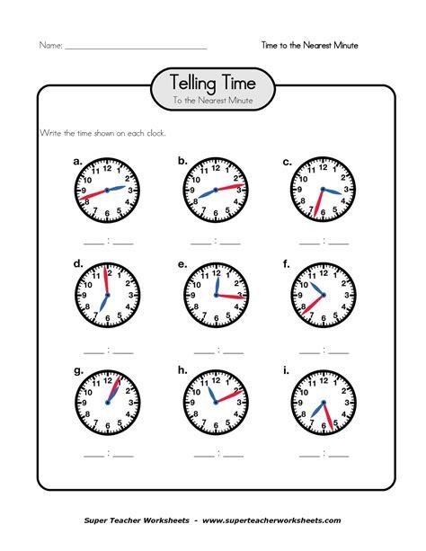 clock telling time worksheet printable printable