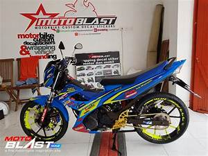 Modifikasi Striping Suzuki Satria Fu 150 Blue Racing By