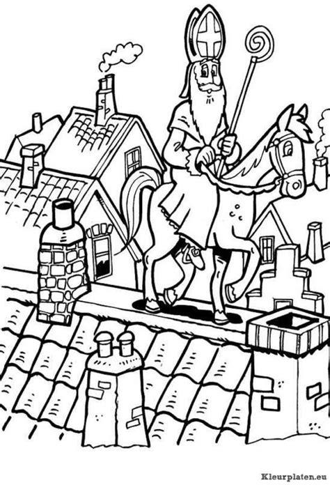 Kleurplaat Sinterklaas Op Het Dak by Sinterklaas Met Paard Op Het Dak Kleurplaat