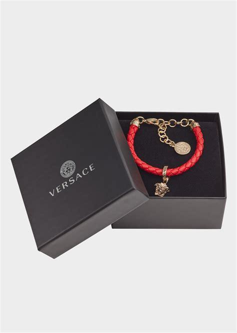 Versace Geflochtenes Lederarmband mit Charm für Damen DE
