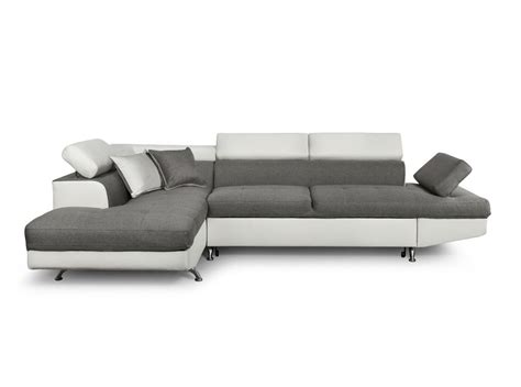 canapé simili blanc canapé d 39 angle en simili cuir et tissu gauche blanc gris