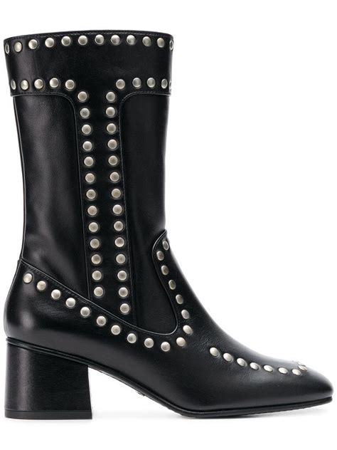 coach leather studded boots  black lyst