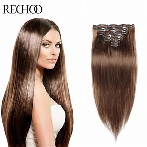 Clip In Human Hair Extensions Brown Color 7 8 10 Pieces