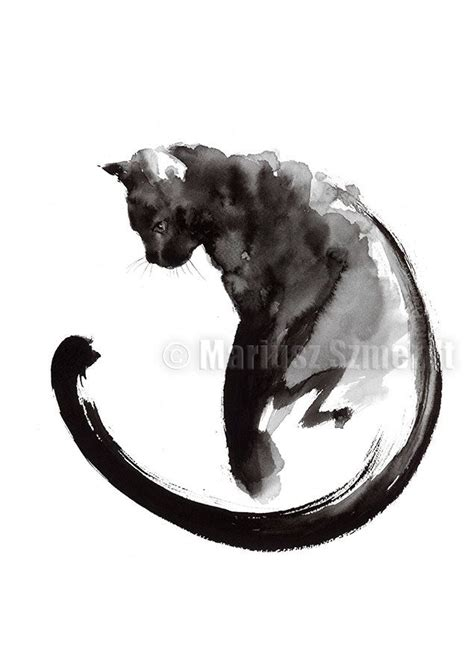 Abstract Black Cat Painting by Black Cat Cat Painting Sumi E Abstract Cat Lucky Symbol