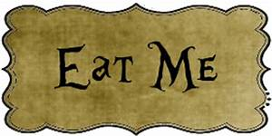 Free downloadable Eat Me and Drink me labels; printable in