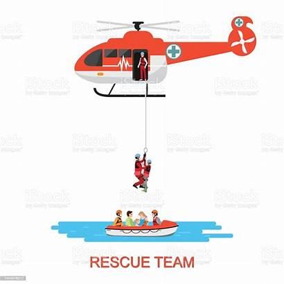 Rescue Helicopter Boat Team Vector Illustration Flood