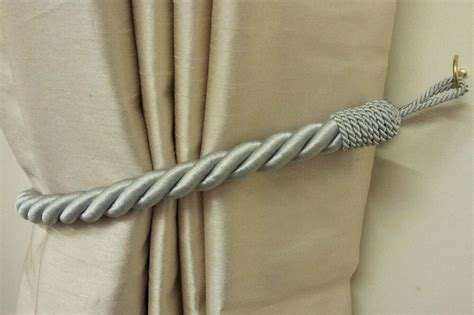 Rope Drapery Tiebacks by 2 X Stunning Silver Thick Large Rope Satin Curtain Drape