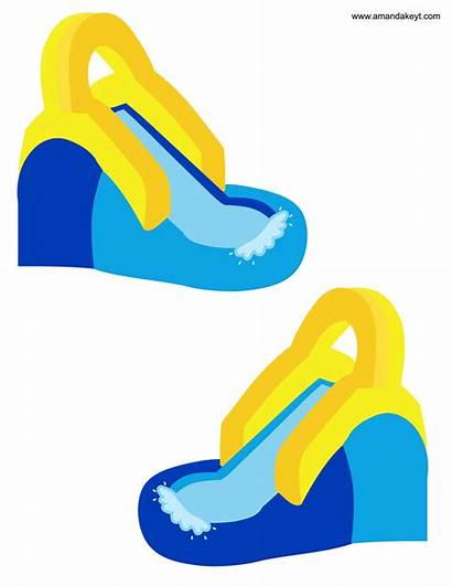 Slide Water Clipart Clip Pool Party Inflatable