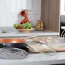 amazoncom michelangelo  quart nonstick woks  stir fry pans  lid frying basket steam