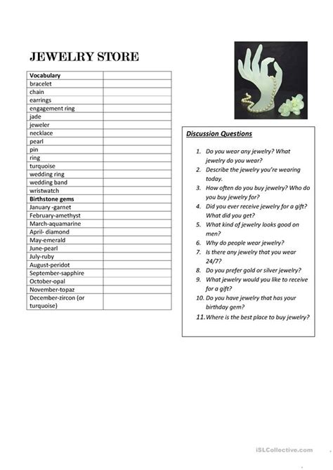Jewelry Vocabulary With Discussion Questions Worksheet  Free Esl Printable Worksheets Made By