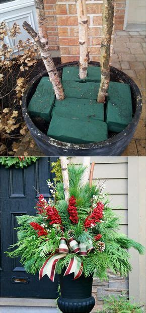 colorful winter planters christmas outdoor