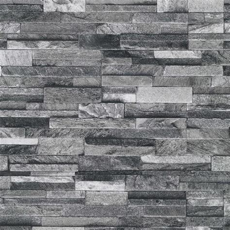 New P&s International Slate Brick Pattern Faux Stone Effect Textured Wallpaper Ebay