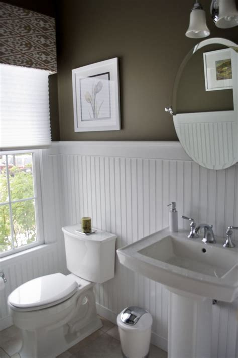 High Contrast Powder Room Dark Walls, White Beadboard