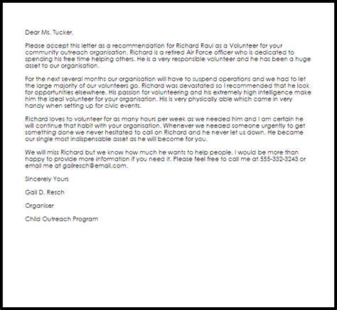 volunteer recommendation letter  letter samples