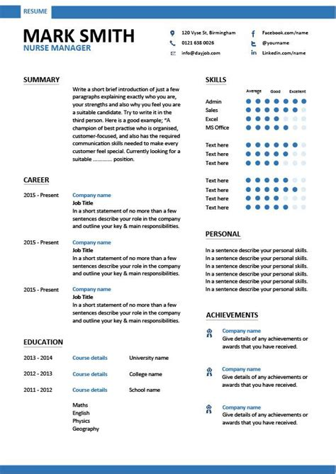 nurse manager resume cv job description  sample