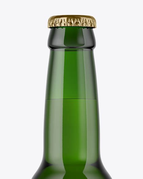 Green glass wine bottle mockup. 330ml Green Glass Lager Beer Bottle Mockup in Bottle ...