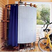 Unique Outdoor Shower Design Blue Shower Curtain For Simple Outdoor Shower