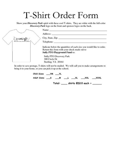 awesome  shirt order form template  images