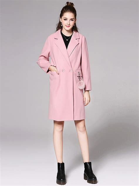 Double Breasted Long Sleeves Long Light Pink Pea Coat For