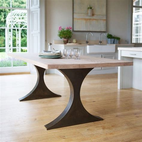 kitchen table bases metal rectangular dining table with metal legs and wood