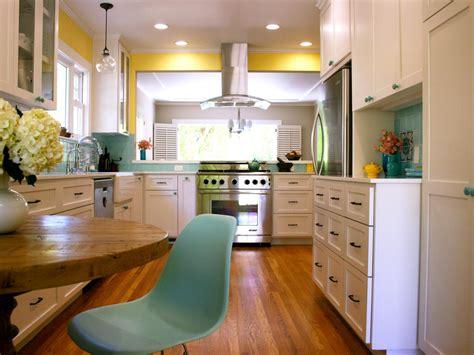 yellow transitional kitchen  teal backsplash hgtv