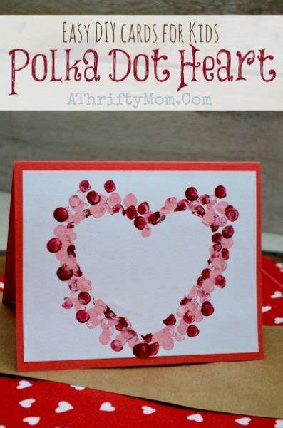 easy diy cards  kids polka dot heart card kidscrafts